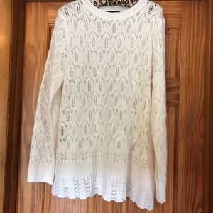 Cable & Gauge Sweater with Pearl Accents Size XL